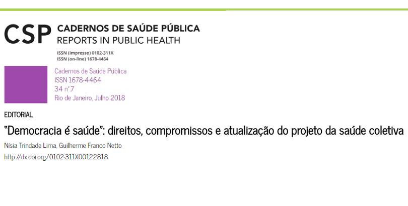 Nísia Trindade e Guilherme F Netto publicam editorial na CSP sobre o Abrascão 2018