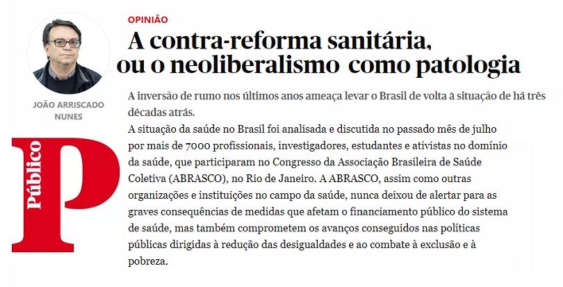 Jornal O Público, de Portugal, divulga alerta da Abrasco