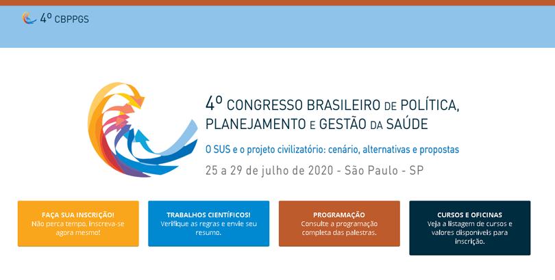 Inscrições abertas para o 4º Congresso de Política, Planejamento e Gestão da Saúde